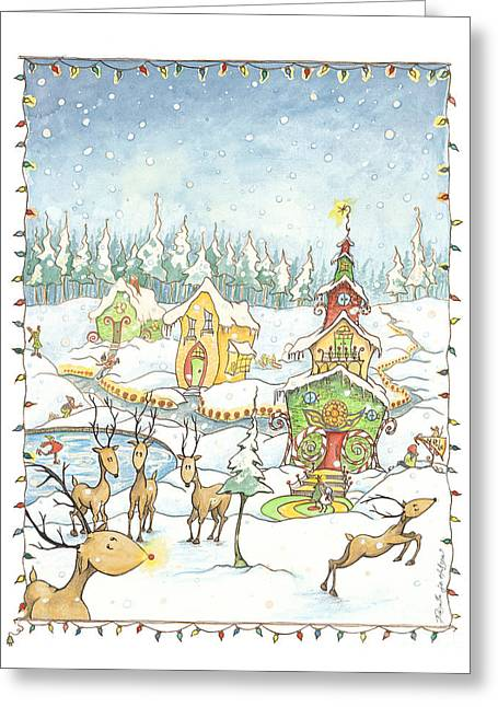 Rudolph Drawings Greeting Cards - CandyCane Village Greeting Card by Priscilla  Jo