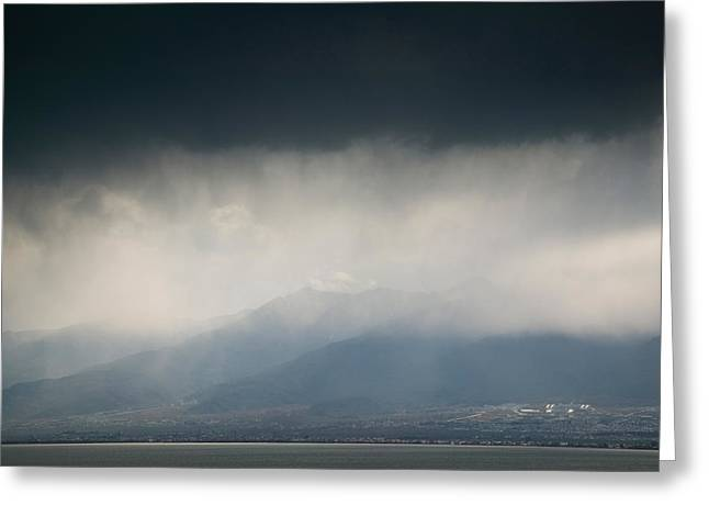 Overcast Day Greeting Cards - Cangshan Mountains And Western Shore Greeting Card by Panoramic Images