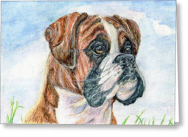 Watching Pastels Greeting Cards - Canine Curiosity. Greeting Card by Madeline Moore