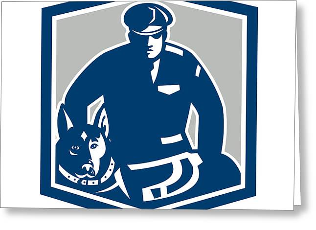Police Dog Greeting Cards - Canine Policeman With Police Dog Retro Greeting Card by Aloysius Patrimonio