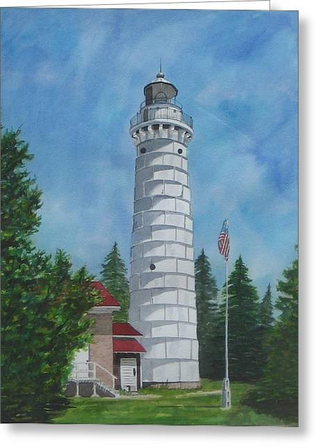 Canna Greeting Cards - Canna Island Lighthouse in Door County Greeting Card by Stacy Crane
