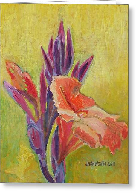 Canna Mixed Media Greeting Cards - Canna Lily Greeting Card by Janet Ashworth