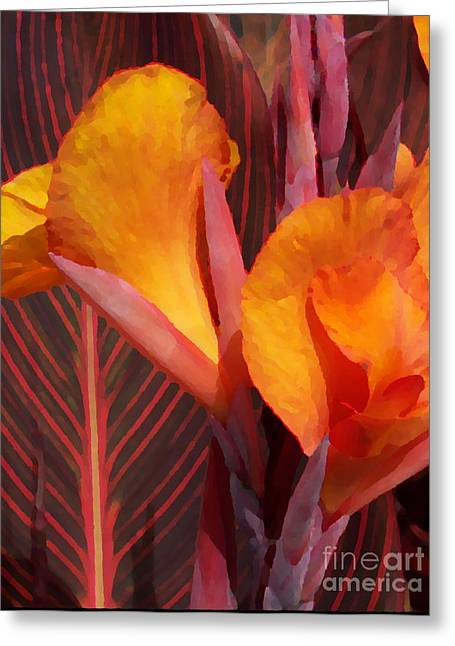 Canna Digital Art Greeting Cards - Canna Painterly Greeting Card by Chalet Roome-Rigdon