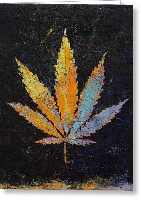 Hippy Greeting Cards - Cannabis Greeting Card by Michael Creese