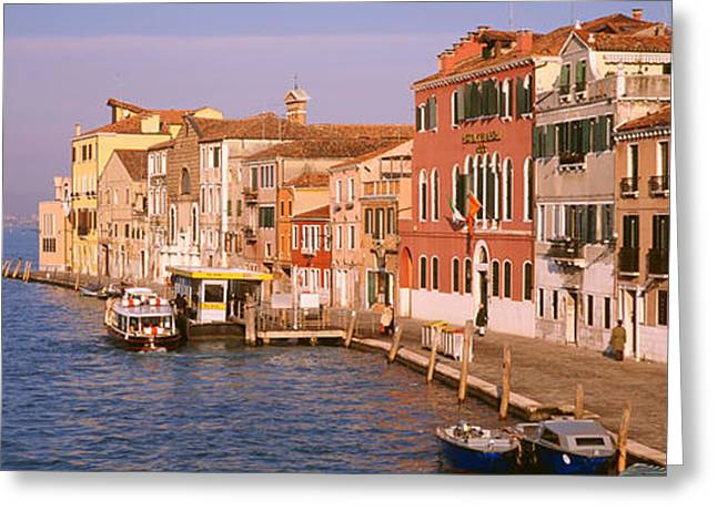Window Reflection Greeting Cards - Cannaregio Canal, Venice, Italy Greeting Card by Panoramic Images