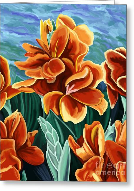 Canna Greeting Cards - Cannas Red Orange Greeting Card by Tim Gilliland
