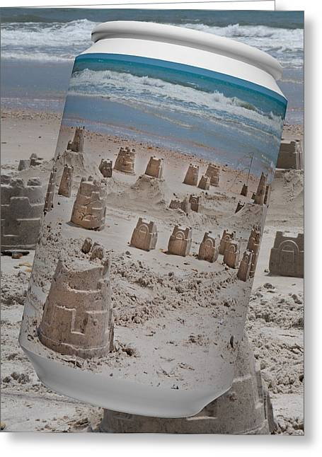Sandcastle Greeting Cards - Canned Castles Greeting Card by Betsy A  Cutler