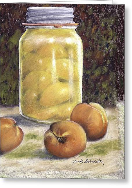 Italian Masons Greeting Cards - Canned Peaches Greeting Card by Claude Schneider