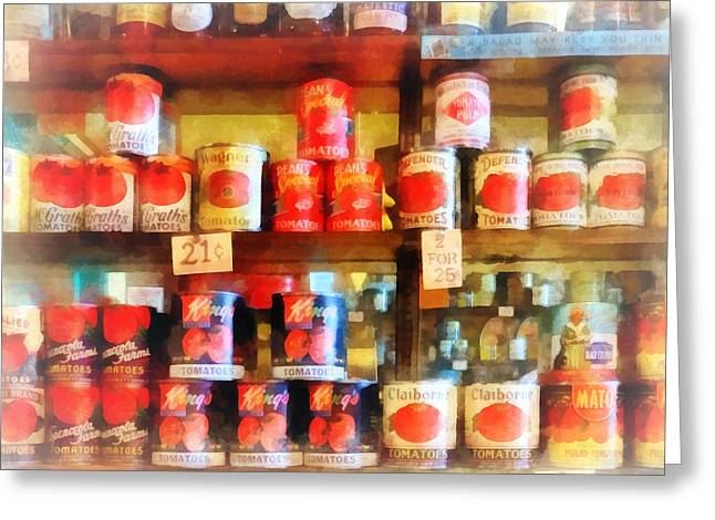 Italian Market Shelves Photographs Greeting Cards - Canned Tomatoes Greeting Card by Susan Savad