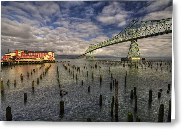 Waterways Greeting Cards - Cannery Pier Hotel and Astoria Bridge Greeting Card by Mark Kiver