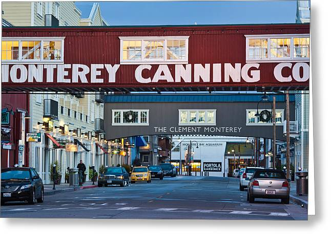 Western Script Greeting Cards - Cannery Row Area At Dawn, Monterey Greeting Card by Panoramic Images