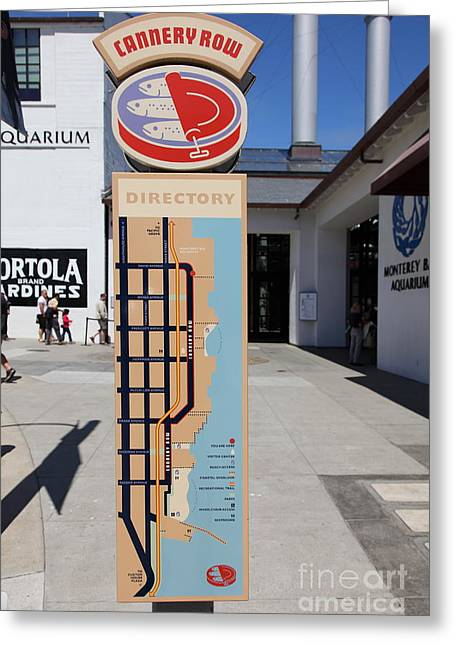 Monterey Canning Company Greeting Cards - Cannery Row Directory At The Monterey Bay Aquarium California 5D25018 Greeting Card by Wingsdomain Art and Photography