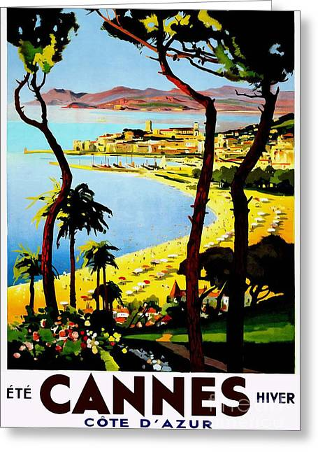 Brochure Greeting Cards - Cannes Vintage Travel Poster Greeting Card by Jon Neidert