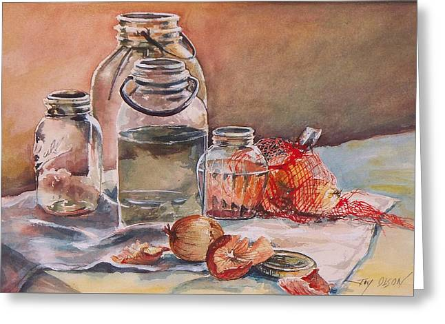 Harvest Art Greeting Cards - Canning Jars and Onions Greeting Card by Joy Nichols