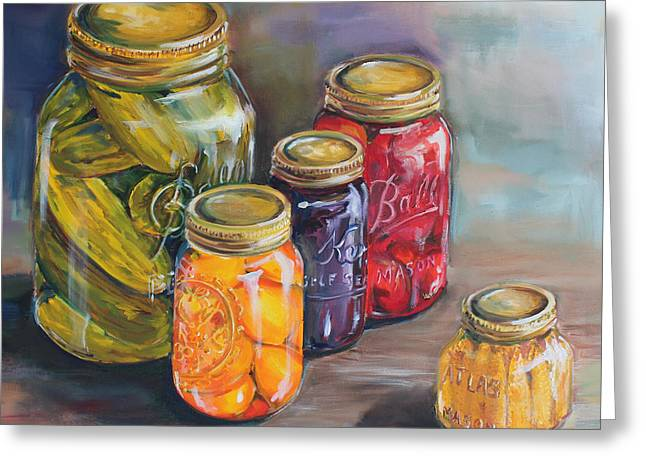Canning Jars Greeting Card by Kristine Kainer