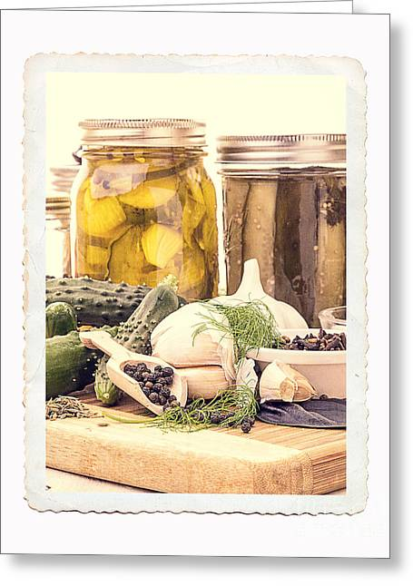 Lids Greeting Cards - Canning Kitchen Art Greeting Card by Edward Fielding