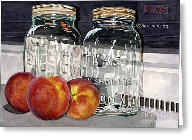 Canning Jar Greeting Cards - Canning Time Greeting Card by Barbara Jewell