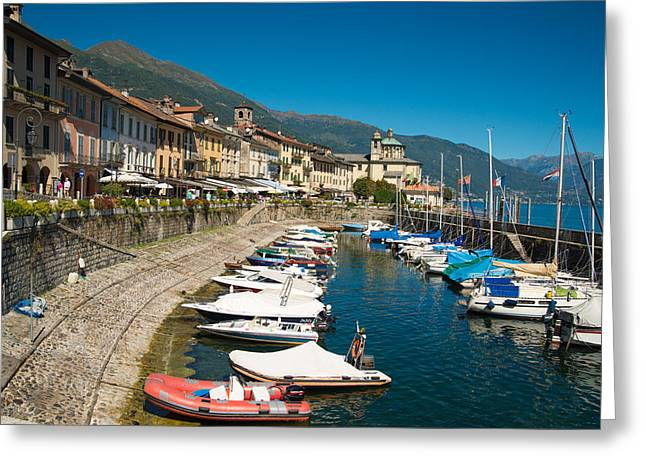 Himmel Greeting Cards - Cannobio Italy Boats and beautiful houses Greeting Card by Matthias Hauser