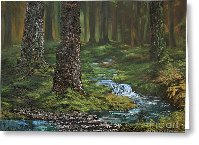 Cemetary Paintings Greeting Cards - Cannock Chase Forest Greeting Card by Jean Walker