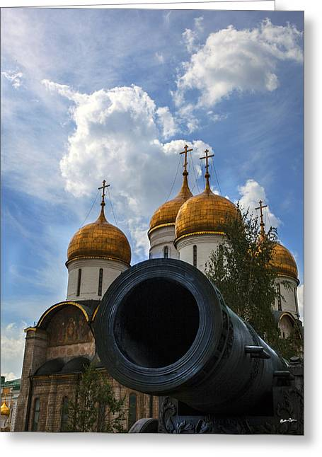 Madeline Ellis Greeting Cards - Cannon and Cathedral  - Russia Greeting Card by Madeline Ellis