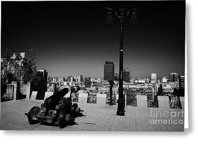 Streetlight Greeting Cards - cannon and street light on the defensive terrace cerro santa lucia hill Santiago Chile Greeting Card by Joe Fox