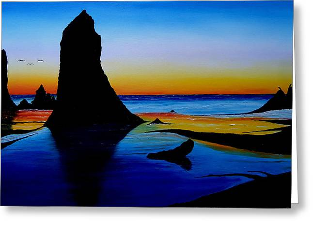 Cannon Beach At Sunset 15 Greeting Card by Portland Art Creations