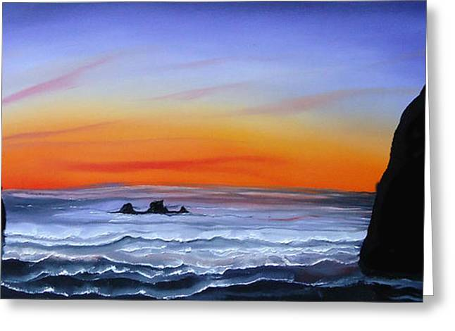 Cannon Beach At Sunset 16 Greeting Card by Portland Art Creations