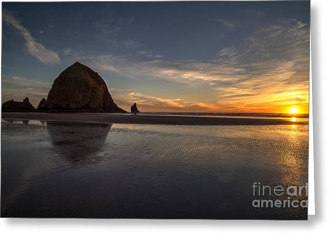 Cannon Beach Greeting Cards - Cannon Beach Dusk Conclusion Greeting Card by Mike Reid