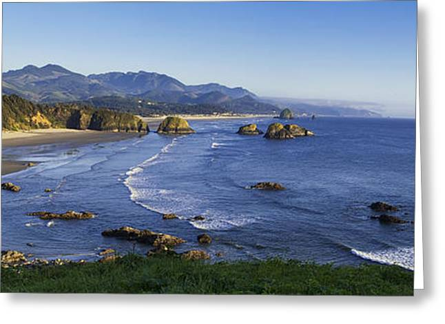 Ocean Art Photography Greeting Cards - Cannon Beach Panorama Greeting Card by Andrew Soundarajan
