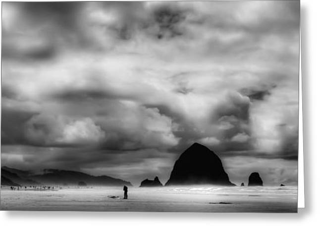 Ocean Panorama Greeting Cards - Cannon Beach Panorama II - The Oregon Coast Greeting Card by David Patterson