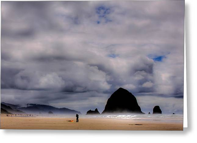 Ocean Scenes Greeting Cards - Cannon Beach Panorama - The Oregon Coast Greeting Card by David Patterson
