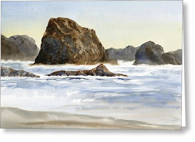 Cannon Beach Greeting Cards - Cannon Beach Rocks with Waves Greeting Card by Sharon Freeman