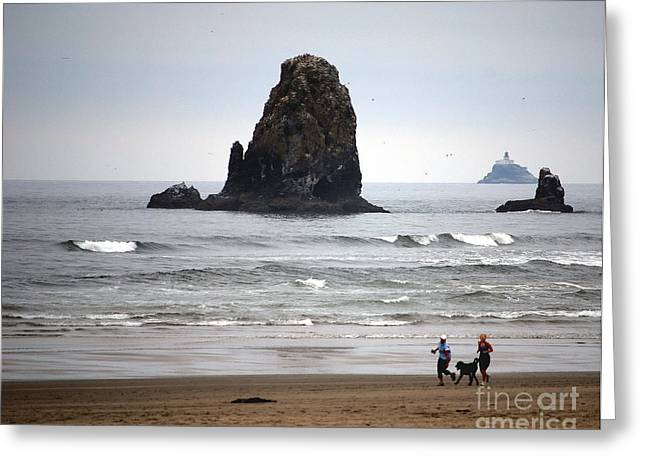 Jogging Greeting Cards - Cannon Beach Run Greeting Card by Sharon Elliott