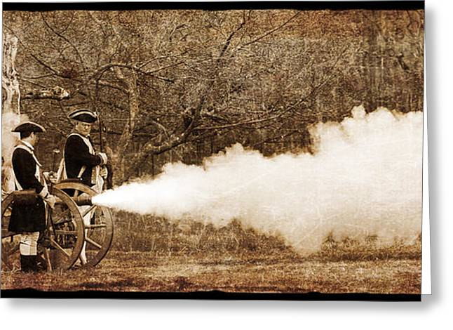 Powder Greeting Cards - Cannon Fire Greeting Card by Mark Miller