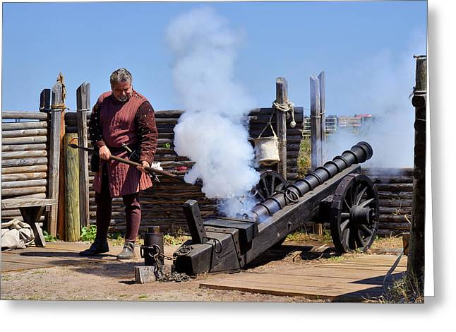 Historic Sites Greeting Cards - Cannon firing at Fountain of Youth FL Greeting Card by Christine Till