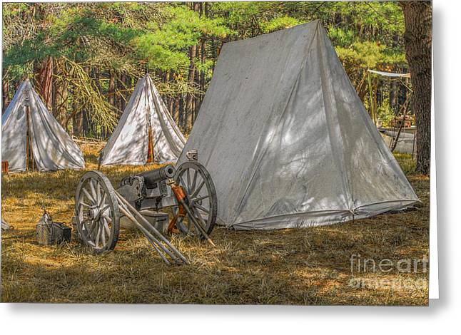 Hunting Camp Greeting Cards - Cannon in Camp Cook Forest Greeting Card by Randy Steele