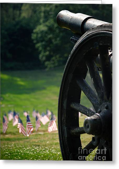 Cannon Greeting Cards - Cannon Memorial with American Flags Greeting Card by Amy Cicconi