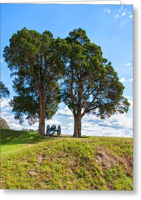 Independance Greeting Cards - Cannon on a Hill Greeting Card by John Bailey