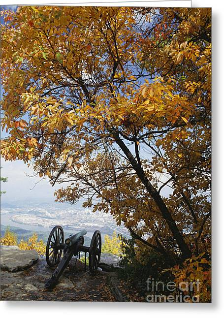 Civil War Battle Site Greeting Cards - Cannon On Top Of Lookout Mountain Greeting Card by Bruce Roberts