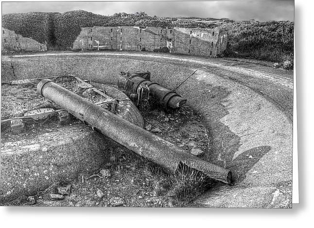 Artillery Gun Greeting Cards - Cannon Remains from WW2 BW Greeting Card by Gill Billington