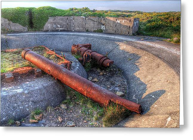 Artillery Gun Greeting Cards - Cannon Remains From WW2 Greeting Card by Gill Billington