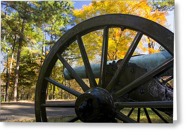 Afternoon Battle Greeting Cards - Cannon Wheel Greeting Card by Dale Wilson
