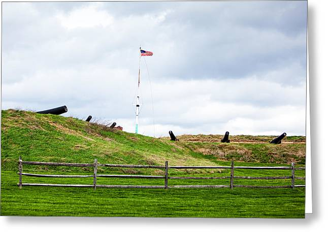 Ammunition Greeting Cards - Cannons and the Star Spangled Banner Greeting Card by Susan  Schmitz