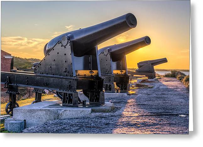 Confederate Monument Greeting Cards - Cannons at Fort Clinch Sunset Greeting Card by Rob Sellers