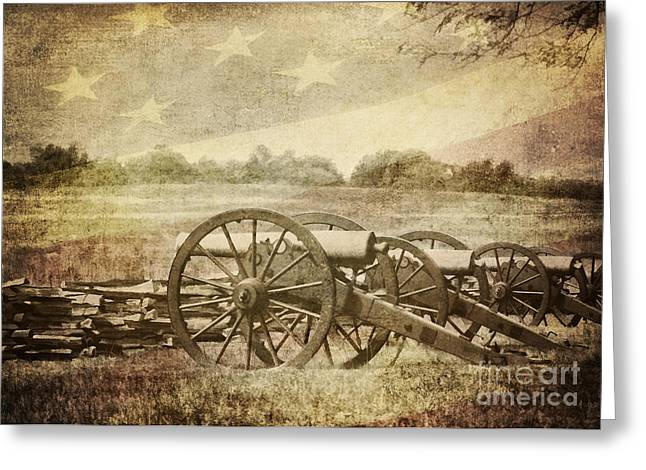 Civil Greeting Cards - Cannons at Pea Ridge Greeting Card by Pam  Holdsworth