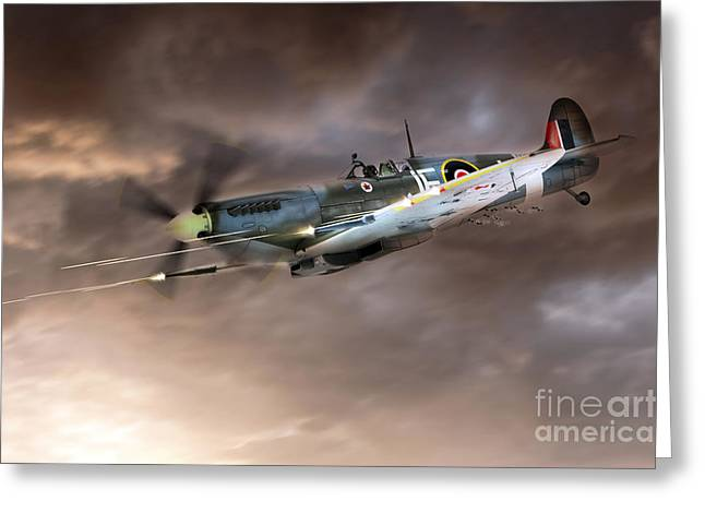 Supermarine Greeting Cards - Cannons Blazing Greeting Card by J Biggadike