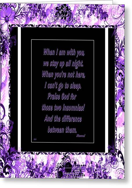 Consume Digital Greeting Cards - Cannot Sleep - Love and Insomnia Greeting Card by Barbara Griffin