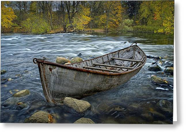 Randy Greeting Cards - Canoe aground on the Thornapple River in Autumn Greeting Card by Randall Nyhof