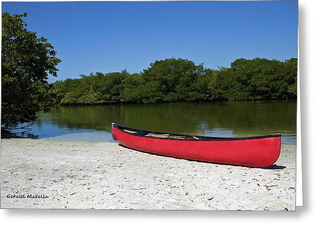 Canoe Photographs Greeting Cards - Canoe and beach Greeting Card by Gerald Marella