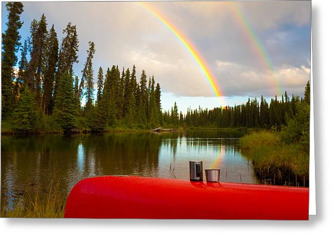 Solitary Activities Greeting Cards - Canoe and Rainbow Greeting Card by Stephan Pietzko